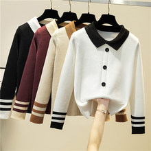 Ljsxls outono inverno retalhos camisola de malha feminina 2020 botão coreano feminino manga longa fino camisolas pullovers puxar femme