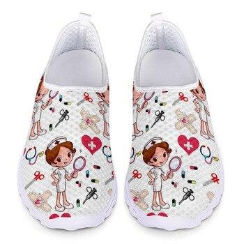 Zapatos planos transpirables para mujer, zapatillas con estampado de enfermera y Doctor,...