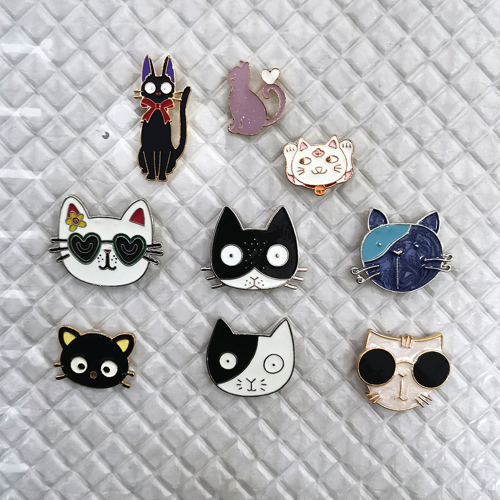 Desenhos animados animal broche pino gato bonito broche de metal para as mulheres vintage lapela pino definir chapéu saco acessórios cachecol fivela jóias presente