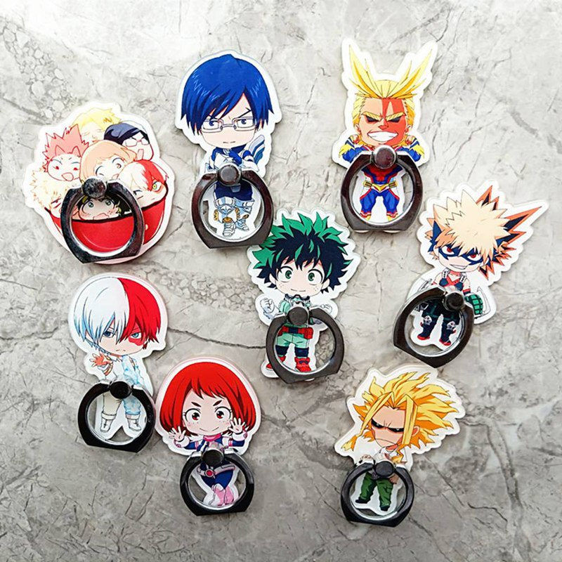My Hero Academia All Might Bakugou Midoriya Todoroki Ring Stand Mount Holder Stent Mobile Phone Paste Stents