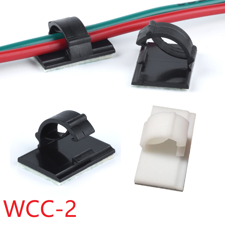 10pcs WCC-2 Cable Clamp Self Adhesive Wire Clip Tie Fixer Mounting Desk Line Holder Organizer Management Fastener White Black