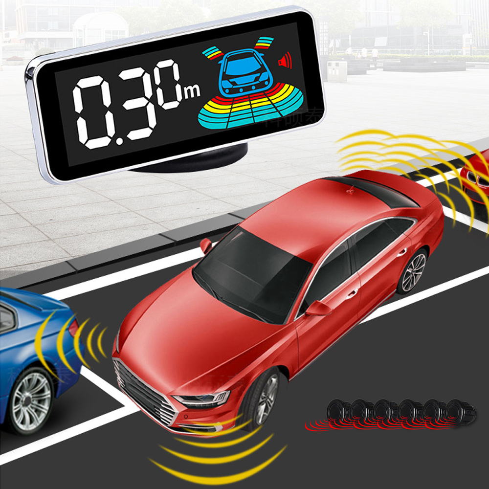 RED REVERSE PARKING SENSORS KIT 8 SENSORS CAR FRONT REAR RADAR ALARM SYSTEM