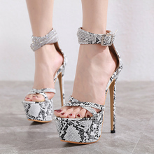 Купить с кэшбэком Women Platform Sandals in High Heels rhinestone Shoes for Women Slingback Summer Sandals For Female Sexy Stripper Shoes LJA914