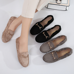 Image 2 - 2020 נעלי בלט דירות נעלי אישה חורף צאן מוצק מוקסינים מוקסינים אפונה בפלאש אגרול דירות הנעלה רך אמא שטוח