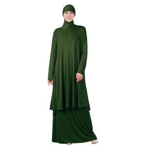 Image 3 - שתי חתיכות סט תפילה אסלאמיים העבאיה שמלה מוסלמית נשים גדול צעיף מקסי חצאיות Jilbab ברדס חיג אב קפטן גלימה ערבית הרמדאן