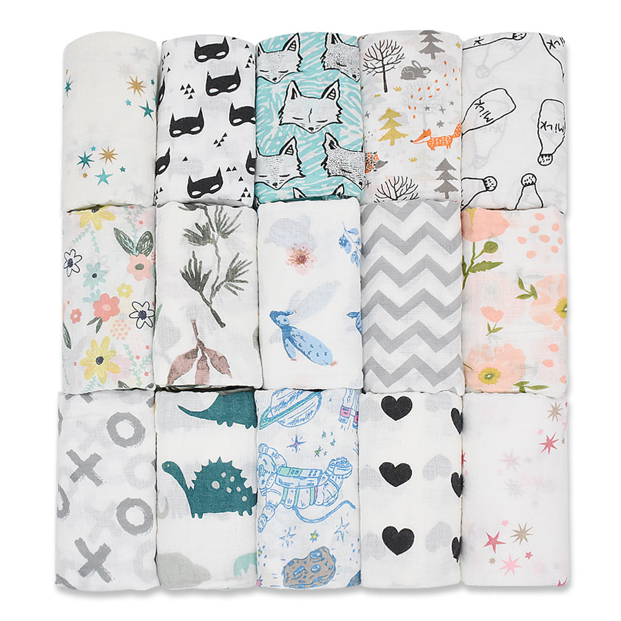 110X110CM 100%Cotton Muslin Baby Swaddles Soft Newborn Blankets Bath Gauze Infant Wrap Sleepsack Stroller Cover Mat Dropshipping