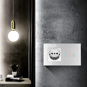 Image 5 - Light Switch Tempered Glass Touch Panel 1/2/3 Gang Modular EU Plug Socket 146 Lamp Conjoined Electric Outlets for Office Home