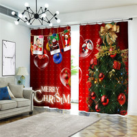 Red christmas letter digital printing 3D Blackout Curtains Bedroom Living Room Flower Children Room Window Curtain Cortinas