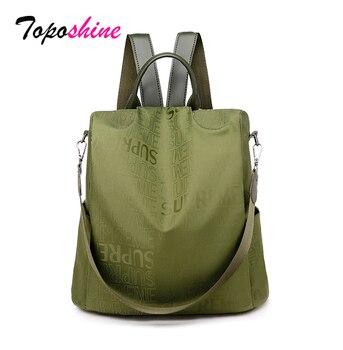 Toposhine Oxford Women Backpacks 2020 New Shoulder Bags Letter Print  Ladies Backpack Girls School Bag Popular Green - discount item  49% OFF Women's Handbags