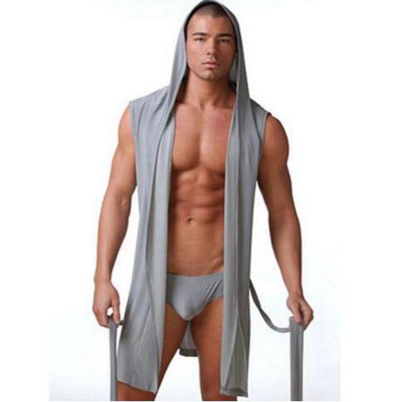 Best Price Summer Dress Bath Robe With Briefs Men Pajamas Sleepwear Silky Pijama Hombre Hooded Bathrobe Men Bath Set