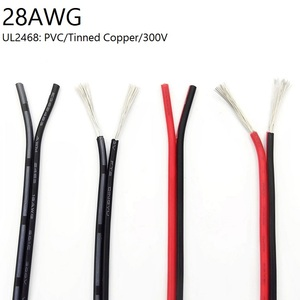 1M 2 Pin Electric Copper Wire 28AWG Lamp Lighting Cable PVC Insulated Double Cords Extend Connect Line White Black Red UL2468