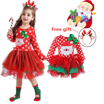 Red Christmas Mesh Tutu Dress Kids Xmas Party Santa Claus Reindeer Costumes Baby Winter Snowman New Year Girls Children Clothes image