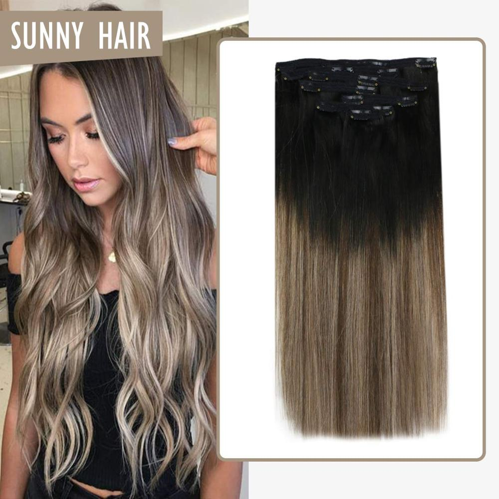 VeSunny Double Weft Clip In Hair Extensions Real Human Hair 7pcs 120gr Balayage Black To Brown Highlighted Ash Blonde #1B/4/18