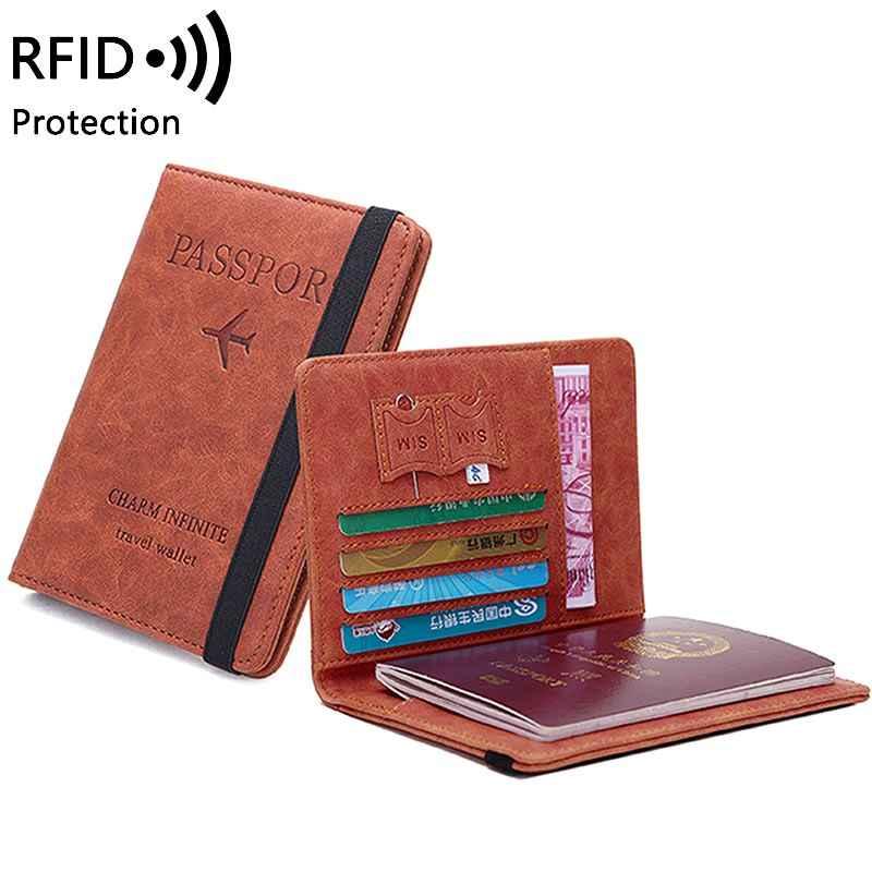 Delle donne Degli Uomini di RFID Vintage Business Passaporto Coperture Supporto Multi-Funzione ID della Carta di Credito DELL'UNITÀ di elaborazione Cassa di Cuoio Del Raccoglitore Accessori Da Viaggio