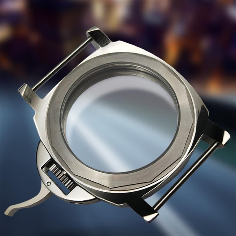 Substituição 44mm aço inoxidável caso de relógio