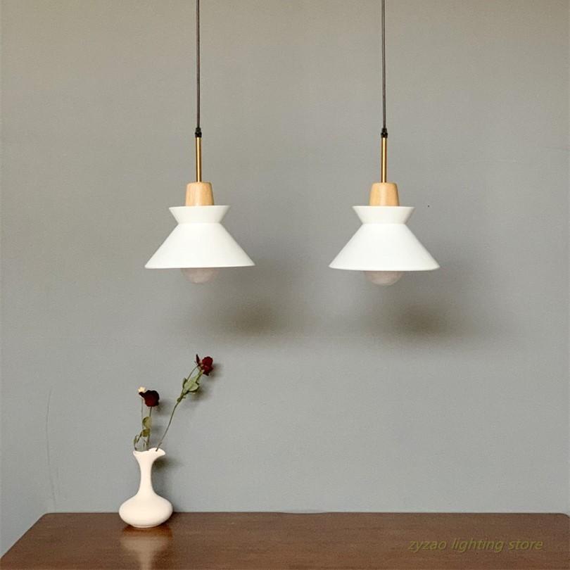 Modern Simple Led Pendant Lights Wooden Designer Sofa Side Home Decor Hanging Lamps Dining Room Restaurant Bar Light Fixtures