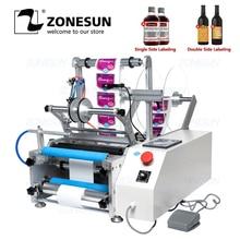 ZONESUN XLT801 машина для упаковки пищевых продуктов автоматическая пластиковая Жестяная Банка круглая стеклянная бутылка двухсторонняя Этикетировочная машина наклейка этикетка