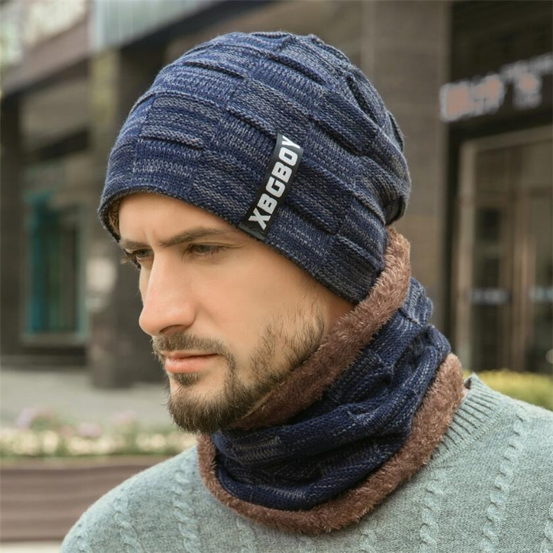 Men Winter Hat And Scarf Man Warm Knitted Plush Hat 2 Pcs Set Male Solid Beanies Cap With Ring Scarves Adult Accessorie