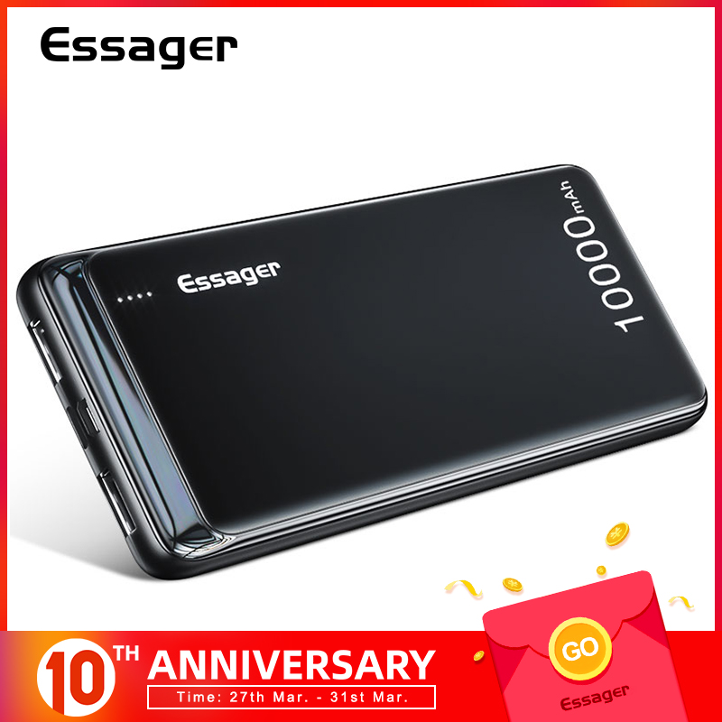 Essager 10000 Mah Power Bank Slim Usb 10000 Mah Powerbank Draagbare Externe Batterij Oplader Pack Voor Iphone Xiao Mi Mi 9 Poverbank title=