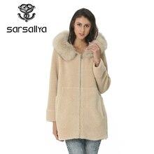 Moda casaco de lã gola destacável gola de pele lã mistura casaco e jaqueta sólida feminina casacos outono inverno