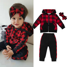 Toddler Kids Baby Girl Red Plaid Outfits Autumn Clothes Zipper Hooded Coats Long Pants Headband 3Pcs Baby Girl Cotton Sets 0-3T(China)