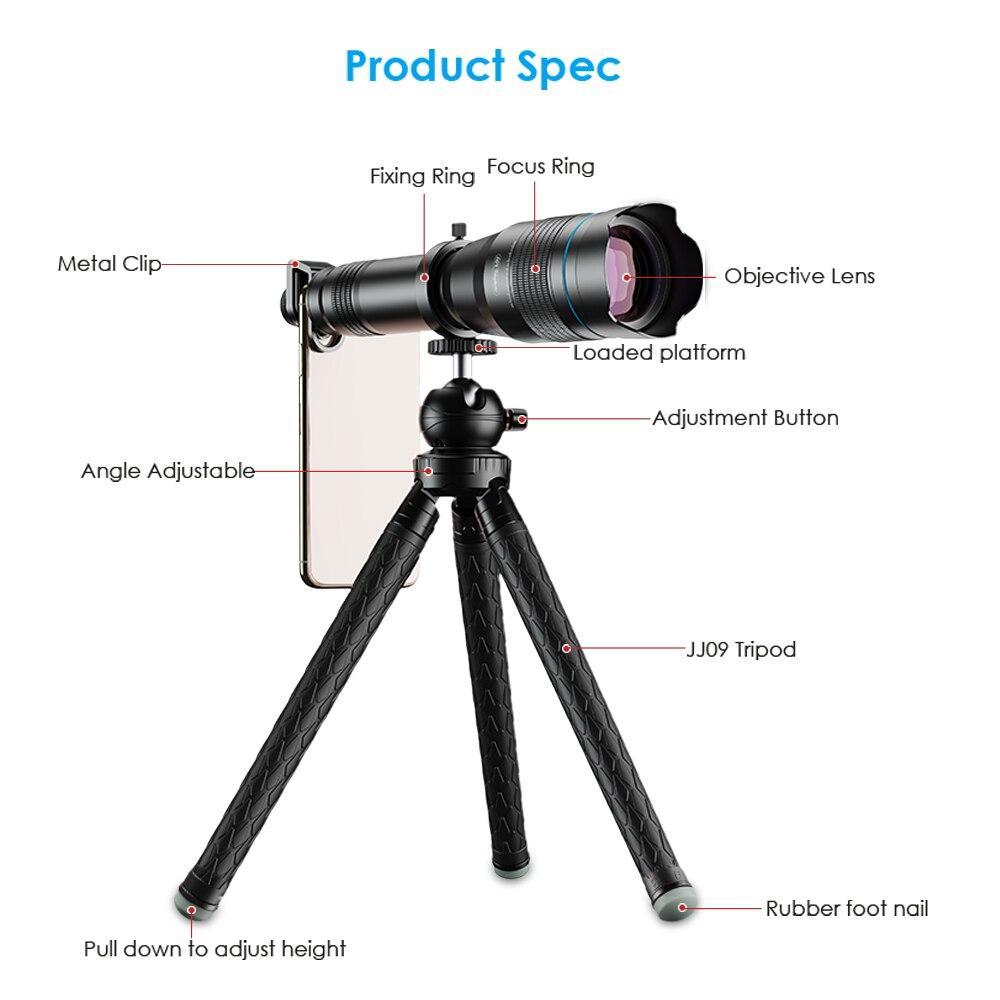 APEXEL HD 60X metallo Telescopio Del Telefono Dell'obiettivo Obiettivo di Macchina Fotografica Super Teleobiettivo Monoculare + Allungabile Treppiede Per iPhone Huawei tutti gli smartphone - 2