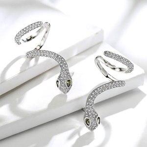 Image 5 - Viennois Cuff Stud Snake Earrings Top Zircon Rhinestone Vintage Earrings