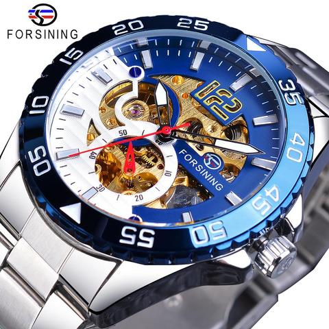 Relógio de Aço Azul à Prova Forsining Relógio Mecânico Masculino Marca Superior Luxo Automático Homem Inoxidável Esqueleto Mostrador Dwaterproof Água Casual