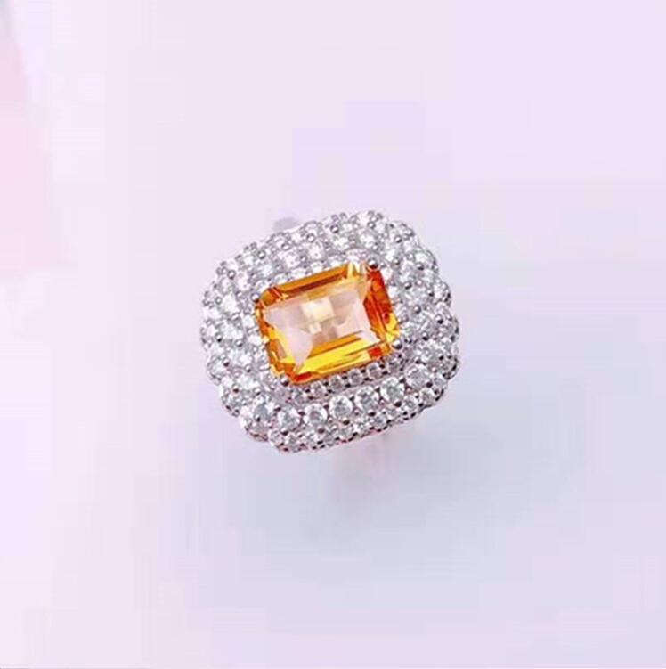 925 silver with 5A zircon natural citrine ring adjustable