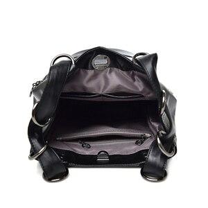 Image 5 - LONOOLISA 3 in 1 Women Backpack Leather Shoulder Bag Female Rucksack High Capacity Women School Bags For Teenage Girls Mochila