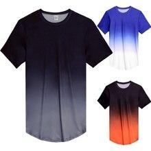 Мужская компрессионная футболка с коротким рукавом для фитнеса, облегающая Повседневная футболка, модная футболка градиентного цвета