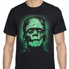 Halloween frankenstein t camisa assustador horror monstro filme preto