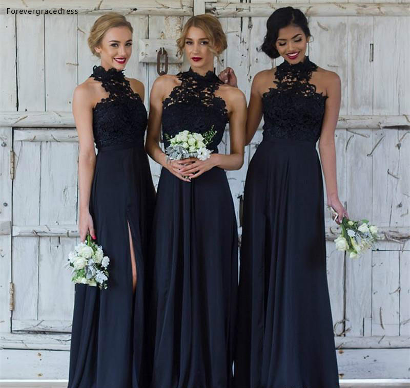 2019 Black High Neck Bridesmaid Dress A Line Appliqued Spring Summer Formal Wedding Party Guest Maid Of Honor Gown Plus Size