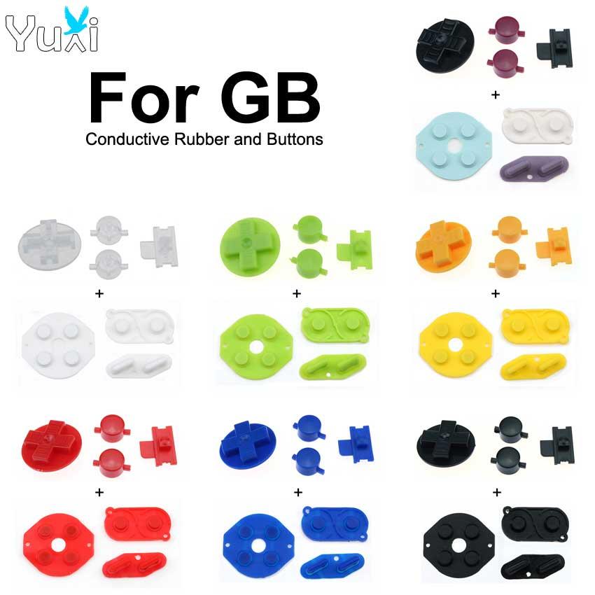 Yuxi verde amarelo vermelho azul preto branco borracha condutora a b d-almofada botões diy para gameboy clássico para gb dmg peças de reparo