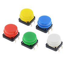 5PCS 12x12x7,3mm Tactile Switches Platz Push Button Tact Switch 12*12*7,3mm Micro Schalter Mit Runde Kappe(China)