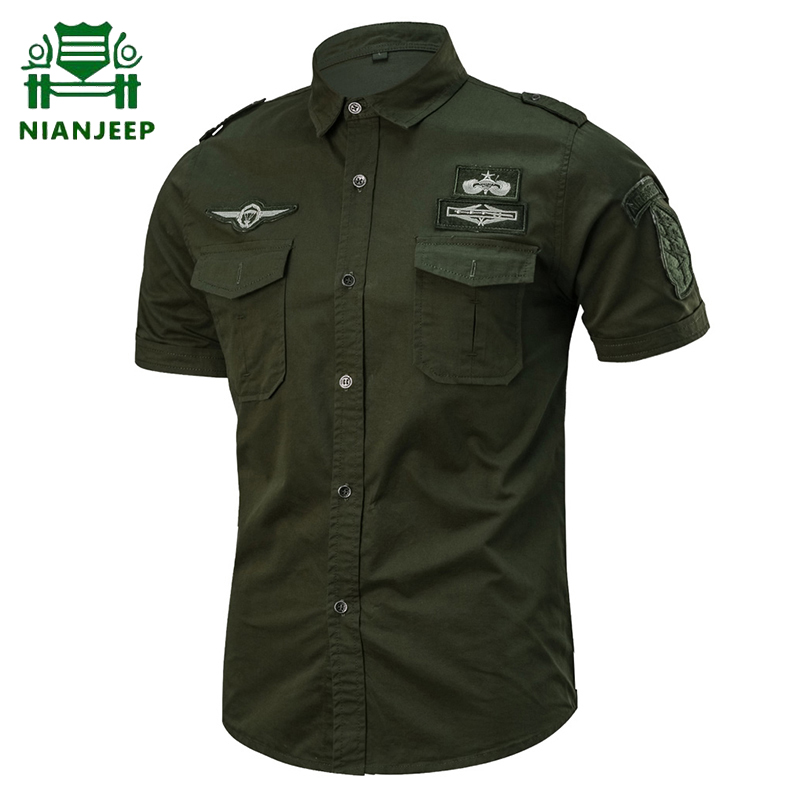 Summer Cotton Military Shirt Men Short Sleeve Casual Shirts Male Plus Size 6XL Airborne Tactical Camisa Militar Camisa Masculina
