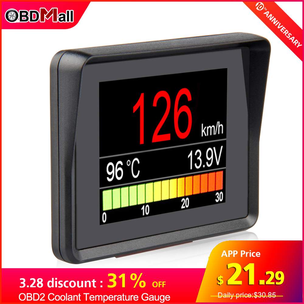 New A203 OBD2 Scanner On Board Computer Diagnostic Tool Coolant Temperature Gauge Voltage Tachometer Speedometer HUD ODB II Scan