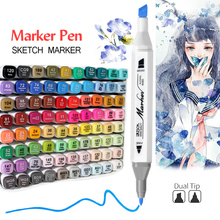 Alcohol Markers 12/24/36/48/60/80 Colors Sketch Pen Dual Head Brush Marker Drawing Pens Manga Art Markers Watercolor Pen Set цена 2017