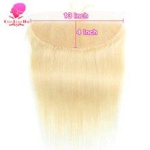 Королева красота бразильских волос 13x4 бесплатная часть 613 светлые кружева Фронтальная застежка прямые человеческие волосы для наращивания...