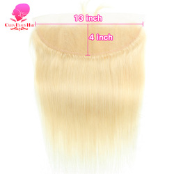 QUEEN BEAUTY Brazilian Hair 13x4 Free Part 613 Blonde Lace Frontal Closure Straight Human Hair 14 16 18 20 22 Inch Honey Color