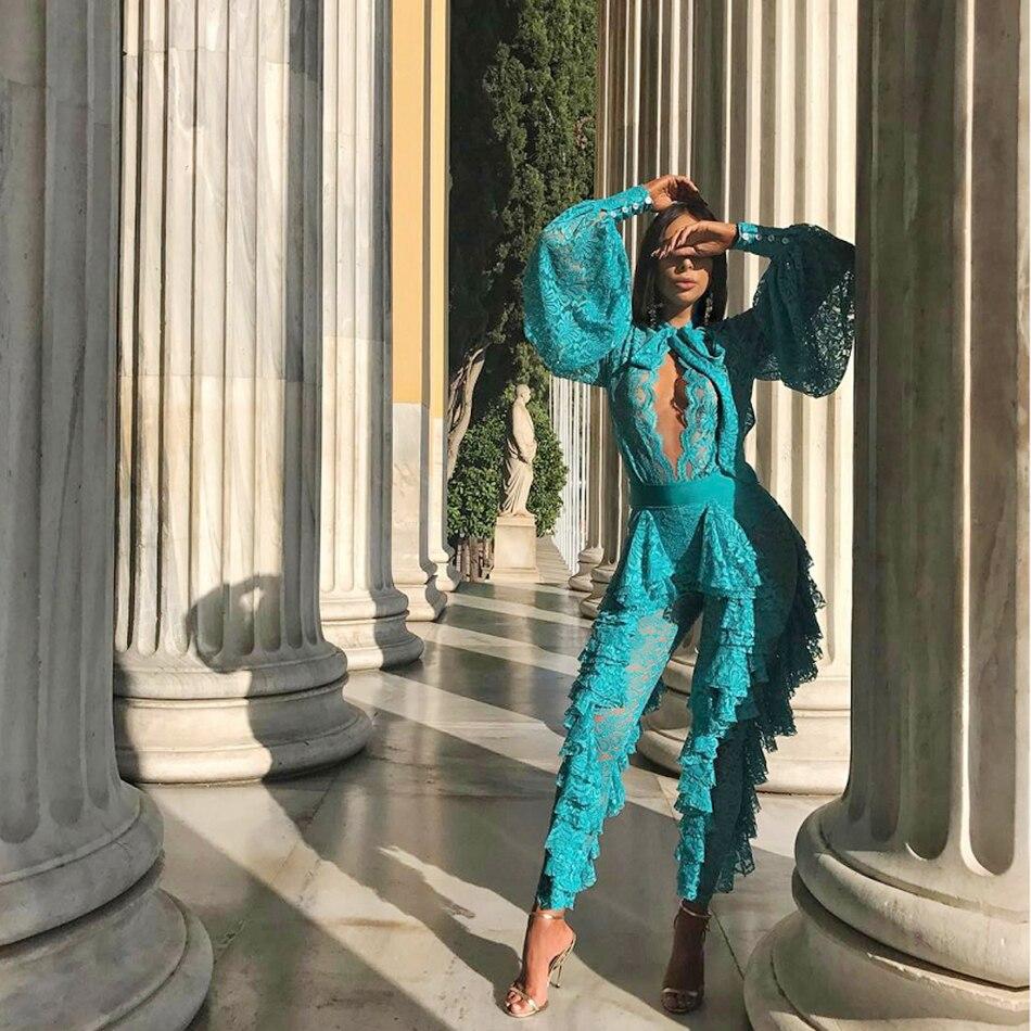 Halinfer 2018 Novas mulheres vestido de verão sexy bodycon lace bow bandage vestido da celebridade elegante vestido de festa azul branco atacado - 5