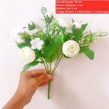 цена на 5 Bouquet 9 heads Artificial Peony Tea Rose Flowers Camellia Silk Fake Flower flores for DIY Home Garden Wedding Decoration+gift