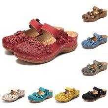 Zapatos Vintage para mujer, cómodos sandalias de punta redonda con agujeros en el tobillo, zapatos de suela suave, chaissures Femmes #15