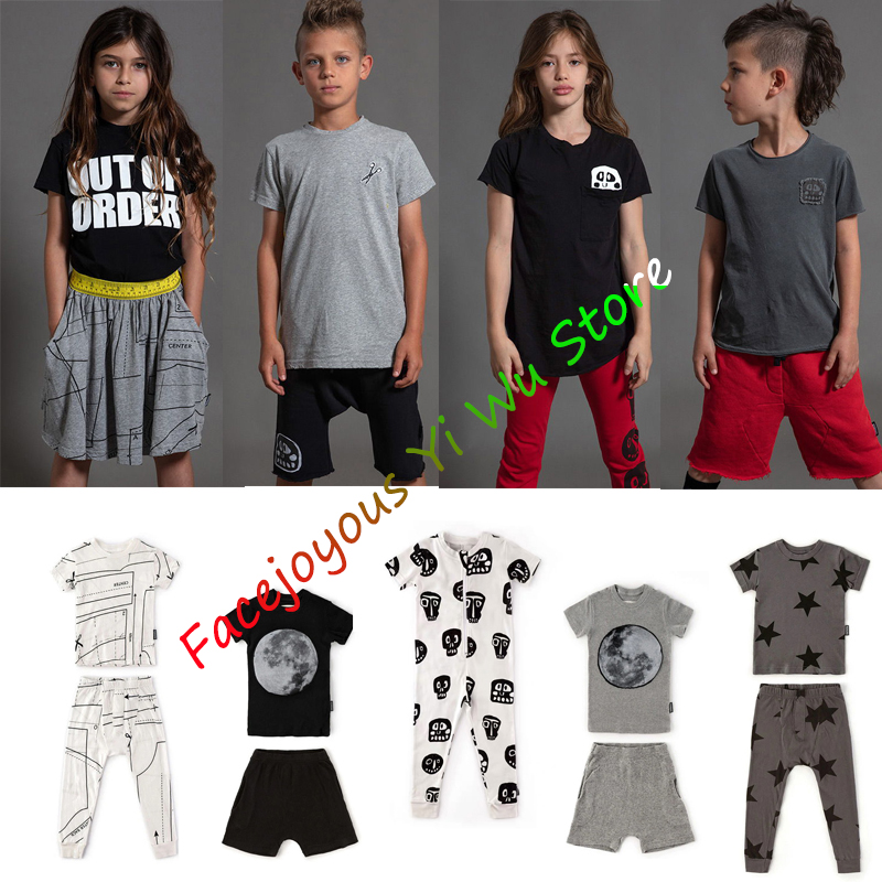 Children Baby Girl Clothes Set Summer Toddler Boy Short Sleeve Tshirt Two-piece Sets Cotton Kids Infant Clothing Outfits 1-14 Y