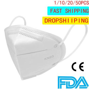 1/10/20/50pcs KN95 CE Certification Face Mask PM2.5 Anti-fog Strong Protective Mouth Mask FFP3 Respirator Reusable Dropshipping
