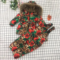 2019 Fur Hoodie Baby Girl Clothes Winter Warm Down Floral Girls Clothing Sets Jackets Pants Teenage Children Kids Snow Suits