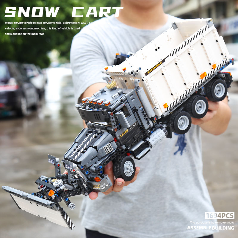 MOULD KING 13144 High-Tech Car Model Compatible With MOC-29800 Snowplow Truck Granite Building Block