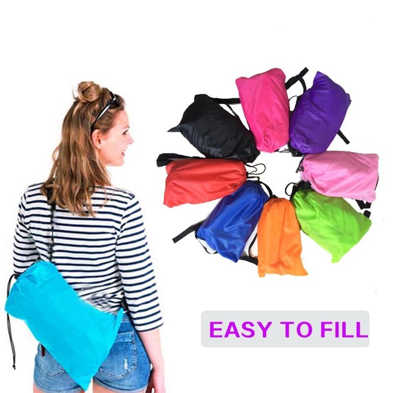 1 del 6 färger uppblåsbar sovväska camping mångfärgad luftbäddsstol lata väska hangout laybag luftsoffa