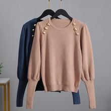 Gigogou luxo puxar manga longa das mulheres suéteres moda malha pulôver camisola outono inverno macio feminino jumper superior camisa puxar