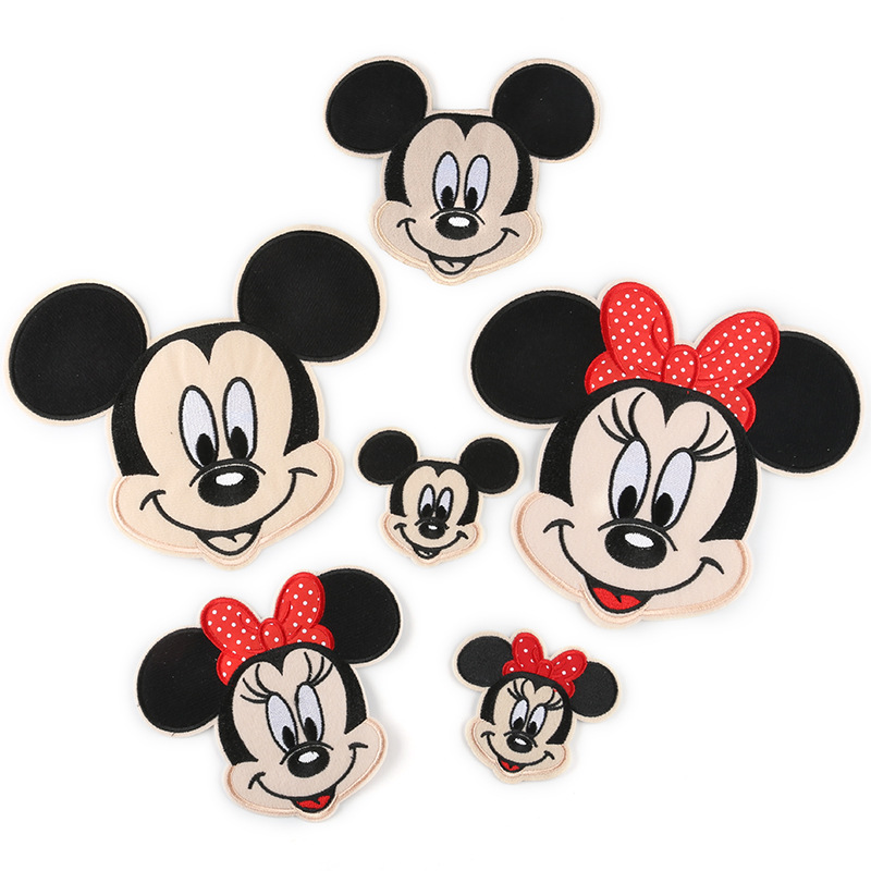 5Pcs Cartoon Mickey Patches Women Fashion Minnies Girls Lovely Boy Doll Embroidery Patch DIY Garment Decoration Sequins Cloth